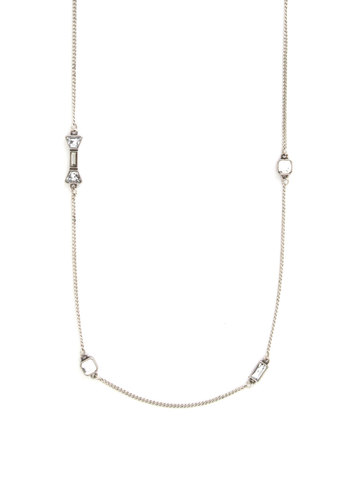 Dazzle Time Necklace - Solid, Rhinestones, Silver, Good, Minimal