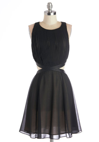 Eye-catching Excitement Dress - Black, Solid, Cutout, Party, A-line, Sleeveless, Better, Scoop, Backless, Pleats, Chiffon, Sheer, Faux Leather, Woven, Mid-length