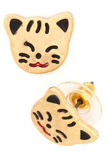 Cat's Awesome! Earrings - Black, Print with Animals, Cats, Gold