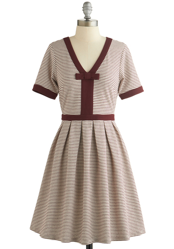 Dear Creatures Night Brunch Dress in Burgundy by Dear Creatures - Red, Tan / Cream, Stripes, Bows, Pleats, Trim, Casual, A-line, Short Sleeves, Better, V Neck, Jersey, Knit, Top Rated, Mid-length