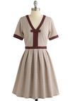 Night Brunch Dress in Burgundy by Dear Creatures - Red, Tan / Cream, Stripes, Bows, Pleats, Trim, Casual, A-line, Short Sleeves, Better, V Neck, Jersey, Cotton, Knit, Mid-length