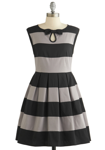Morning Mingle Dress by Dear Creatures - Black, Grey, Stripes, Bows, Pleats, A-line, Sleeveless, Better, Crew, Woven, Party, Spring, WPI, Full-Size Run, Mid-length