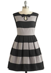Morning Mingle Dress by Dear Creatures - Black, Grey, Stripes, Bows, Pleats, A-line, Sleeveless, Better, Crew, Woven, Mid-length, Party, Spring, Top Rated