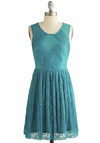 A Cappella Choir Dress - Sheer, Knit, Short, Blue, Solid, Lace, A-line, Sleeveless, Better, Scoop, Lace, Exposed zipper, Prom, Party