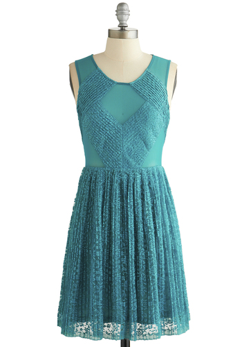 A Cappella Choir Dress - Sheer, Knit, Blue, Solid, Lace, A-line, Sleeveless, Better, Scoop, Lace, Exposed zipper, Prom, Party, Short