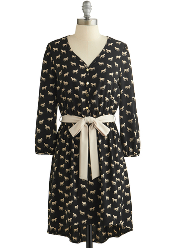 A Trot Like Love Dress - Black, Tan / Cream, Print with Animals, Buttons, Belted, Casual, Shirt Dress, 3/4 Sleeve, Good, V Neck, Woven, Mid-length, Critters, Show On Featured Sale