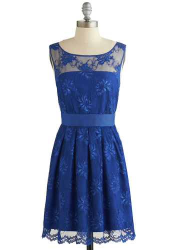 Let's Decadence Dress by BB Dakota - Sheer, Woven, Mid-length, Blue, Solid, Lace, Pleats, Wedding, Party, Bridesmaid, A-line, Sleeveless, Better, Scoop, Glitter, Prom, Exclusives, Lace, Homecoming, Show On Featured Sale