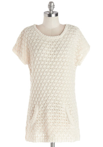 Wrap Genius Sweater by Tulle Clothing - Mid-length, Sheer, Knit, Cream, Pockets, Short Sleeves, Better, White, Short Sleeve, Solid, Knitted