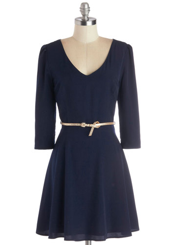 Subtle Sparkle Dress - Blue, Gold, Solid, Belted, A-line, 3/4 Sleeve, Good, V Neck, Woven, Mid-length, Holiday Party