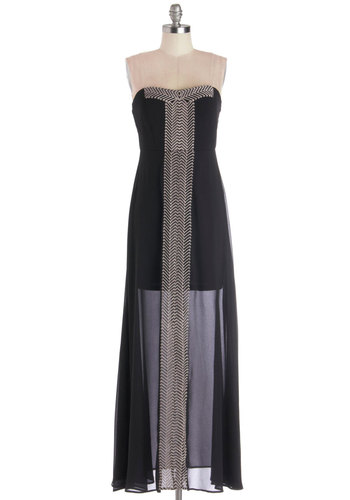 A Fine First Date Dress - Black, Tan / Cream, Embroidery, Casual, Maxi, Strapless, Better, Long, Chiffon, Sheer, Woven, Sweetheart