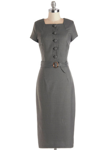 Job-ready Juncture Dress - Grey, Checkered / Gingham, Buttons, Belted, Vintage Inspired, Sheath / Shift, Cap Sleeves, Better, Knit, Long, Work