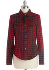 Everybody Now Top - Cotton, Woven, Mid-length, Red, Black, Plaid, Buttons, Trim, Casual, Button Down, Long Sleeve, Winter, Collared, Red, Long Sleeve
