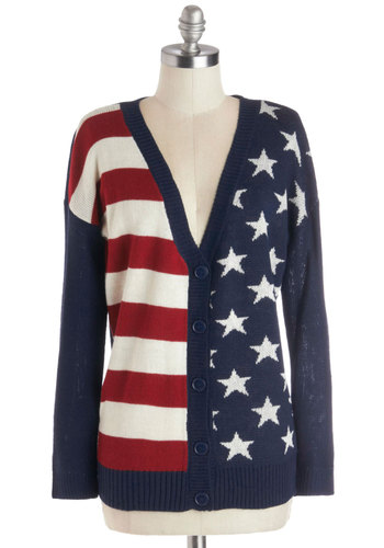 Old Glory Days Cardigan - Mid-length, Knit, Novelty Print, Buttons, Casual, Good, V Neck, Blue, Long Sleeve, Blue, Long Sleeve, Military, Red, White
