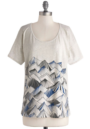 Sleek Peaks Top - Cotton, Knit, Mid-length, Cream, Novelty Print, Short Sleeves, Better, White, Short Sleeve, Casual, Scoop, Blue