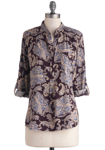 Art School Assistant Top - Mid-length, Woven, Buttons, Work, Vintage Inspired, French / Victorian, Good, Collared, Purple, Tab Sleeve, Multi, Blue, Purple, Tan / Cream, Paisley, Pockets, Casual