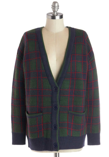 Country Club Date Cardigan - Knit, Mid-length, Holiday, Green, Long Sleeve, Green, Plaid, Long Sleeve, Better, Vintage Inspired, 90s, V Neck, Buttons, Pockets, Casual, Menswear Inspired