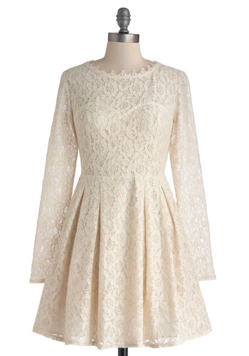 Ever So Sweet Dress - Short, Sheer, Knit, Cream, Solid, Lace, Pleats, Party, A-line, Long Sleeve