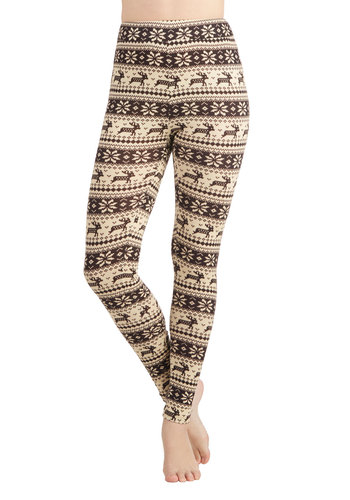 Deer Me Out Leggings in Bark by Ryu - Brown, Cream, Print with Animals, Casual, Fall, Winter, Knitted, Mid-length, Holiday Sale, Holiday, Top Rated