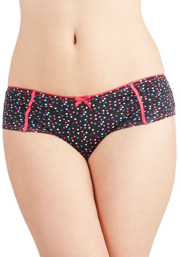 Think Happy Dots Undies - Black, Pink, Multi, Polka Dots, Bows, Trim, Knit