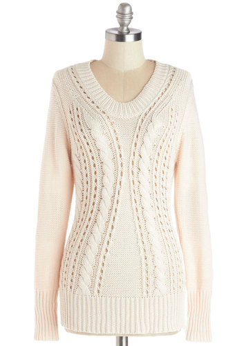 Dynamic Dissertation Sweater - Knit, Mid-length, Sheer, Cream, Knitted, Long Sleeve, Better, White, Long Sleeve, Patch, Scholastic/Collegiate