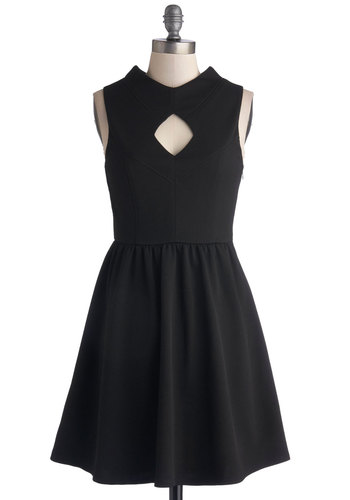 Midnight Mysteries Dress - Black, Solid, Cutout, Party, A-line, Sleeveless, Good, Knit, Short