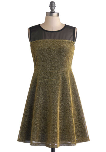 Krysten's Sparkle on the Go Dress - Gold, Black, Glitter, Cocktail, Holiday Party, A-line, Sleeveless, Better, Scoop, Mid-length, Sheer, Knit, Woven, Exposed zipper, Party