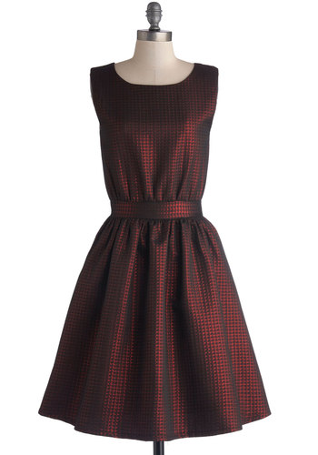 Sublime Shine Dress - Red, Houndstooth, Party, Holiday Party, A-line, Sleeveless, Better, Woven, Long, Black