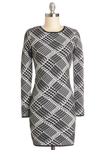 Tami's Like a Producer Dress - Houndstooth, Casual, Sweater Dress, Long Sleeve, Better, Crew, Knit, Mid-length, Black, White, Winter