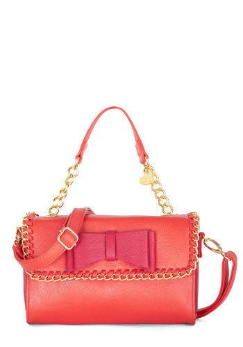 Betsey Johnson Ladylike-able Bag by Betsey Johnson - Pink, Gold, Solid, Bows, Chain, Trim, Best, Faux Leather