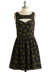 Dreaming of Dancing Dress by Sugarhill Boutique - Black, Green, Polka Dots, Party, A-line, Better, Chiffon, Woven, Mid-length, Cutout, Sweetheart