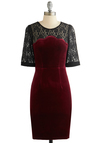 Holiday Open House Dress by Sugarhill Boutique - Red, Black, Cocktail, Sheath / Shift, Better, Sheer, Knit, Long, Lace, Scallops, Holiday Party, 3/4 Sleeve