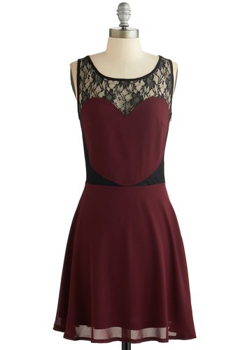 Heart of the Flatter Dress by Sugarhill Boutique - Red, Black, Party, A-line, Better, Scoop, Chiffon, Sheer, Knit, Woven, Mid-length, Lace, Sleeveless