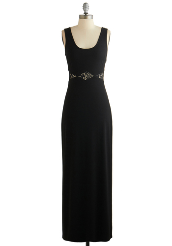 Def Glam Dress - Sheer, Knit, Long, Black, Solid, Lace, Party, Maxi, Tank top (2 thick straps), Better, Scoop, Cutout