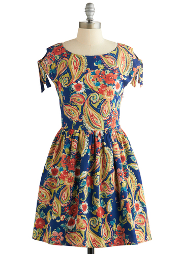 Uptown Swirl Dress - Cotton, Woven, Mid-length, Multi, Paisley, Casual, A-line, Cap Sleeves, Better, Scoop