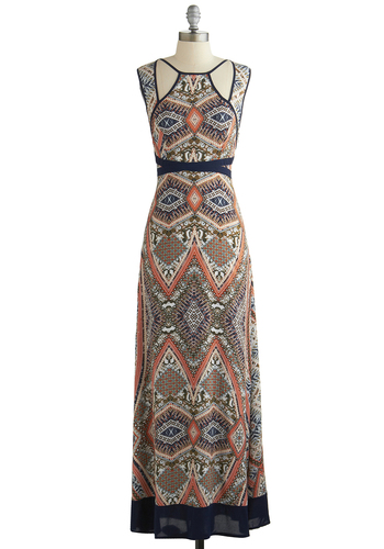 Planning Ports Dress - Long, Woven, Sleeveless, Better, Print, Cutout, Casual, Maxi, Multi