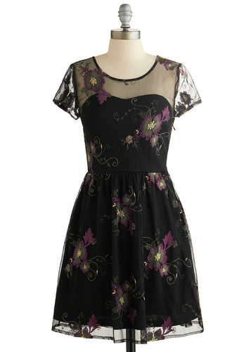 Garland State Dress - Black, Green, Purple, Floral, Embroidery, Party, A-line, Short Sleeves, Good, Scoop, Sheer, Woven, Short