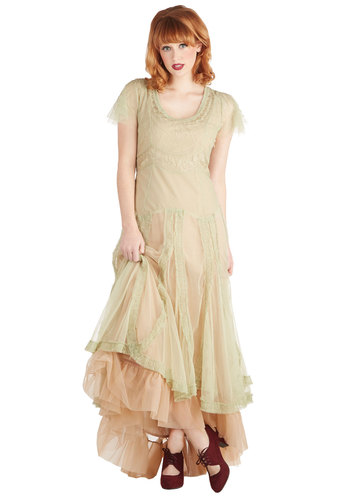 Fairy Important Date Dress in Sage - Sheer, Long, Green, Tan / Cream, Embroidery, Ruffles, Vintage Inspired, Pastel, Scoop, Cap Sleeves, Variation, Solid, Tiered, Fairytale, Maxi, Boho, Fall