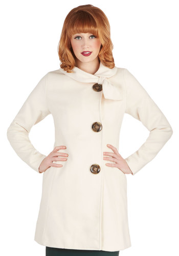 Perpetual Charm Coat in Cream - Woven, Long, Cream, Solid, Buttons, Vintage Inspired, Long Sleeve, Better, Collared, White, Long Sleeve, Pockets, Exclusives, 2, Winter