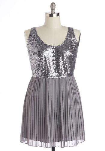 Ore My Darling Dress in Plus Size by BB Dakota - Knit, Woven, Silver, Solid, Pleats, Sequins, Party, A-line, Tank top (2 thick straps), Better, Scoop, Chiffon, Prom