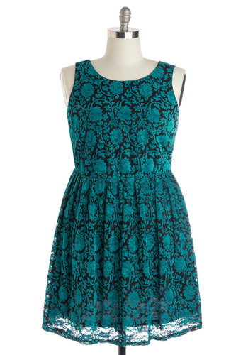 Floral Flashback Dress in Turquoise - Plus Size - Knit, Blue, Black, Floral, Party, A-line, Tank top (2 thick straps), Better, Scoop, Show On Featured Sale
