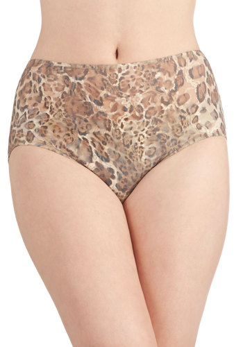 Leap of Lovely Undies by Only Hearts - Brown, Tan / Cream, Animal Print, Safari, Rockabilly, Pinup, Vintage Inspired, 30s, 40s, 50s, High Waist, Better, Boudoir, Sheer, Knit