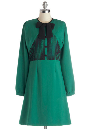 Ace of Jade Dress - Knit, Mid-length, Green, Black, Bows, Buttons, A-line, Long Sleeve, Better, Work