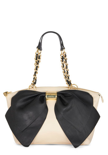 Betsey Johnson Impress Conference Bag by Betsey Johnson - Cream, Black, Solid, Bows, Best, Faux Leather, Chain