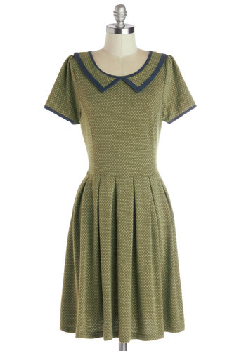 The More the Rosemary Dress by Dear Creatures - Green, Blue, Polka Dots, Pleats, Trim, Casual, Scholastic/Collegiate, A-line, Short Sleeves, Better, Collared, Knit, Mid-length, Peter Pan Collar, Work