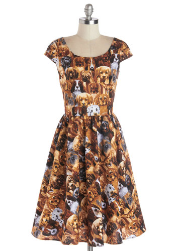 Hooked on a Canine Dress - Cotton, Woven, Brown, Multi, Print with Animals, Cap Sleeves, Better, Scoop, Casual, Quirky, Variation, Pleats, Critters, Dog, Full-Size Run, Long, Fit & Flare