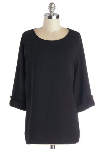 Zoom Bisou Top in Black - Woven, Mid-length, Black, Solid, Minimal, 3/4 Sleeve, Better, Scoop, Black, Tab Sleeve