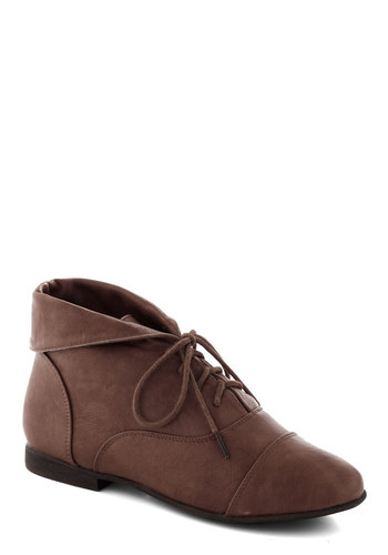 Blaze a Trail Bootie in Mocha - Flat, Faux Leather, Brown, Solid, Good, Lace Up, Casual, Variation