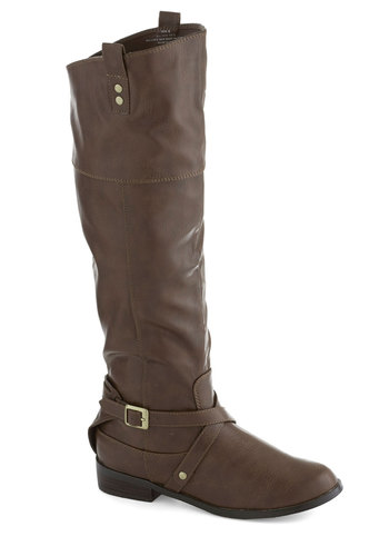 Ask Me Equestrian Boot in Taupe - Low, Faux Leather, Tan, Solid, Buckles, Studs, Better