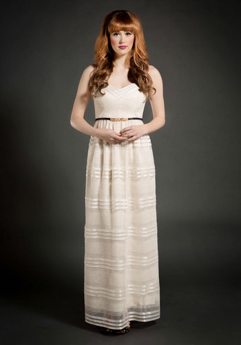 See You Swoon Dress in Cream - Cream, Party, Bride, Vintage Inspired, Maxi, Spaghetti Straps, Sweetheart, Better, Solid, Empire, Woven, Long, Wedding