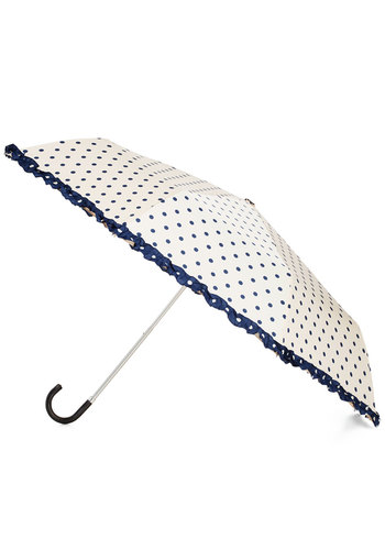 Legit's a Beautiful Day Umbrella in Cream by Louche - White, Blue, Polka Dots, Trim, Ruffles